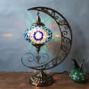 Blue Oval Shade Table Lamp Art Deco Stained Glass 1 Light Living Room Nightstand Lamp