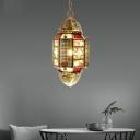Brass Lantern Hanging Pendant Traditional Metal 1 Head Restaurant Ceiling Hang Fixture