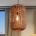 Japanese Cylinder Hanging Light Rattan 1 Bulb Suspended Lighting Fixture in Brown