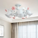 6 Lights White Glass Semi Flush Traditional Flower Living Room Close to Ceiling Lighting