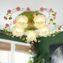 Floral Opal Glass Ceiling Light Country 5 Bulbs Living Room Flush Mount Lighting in White/Green
