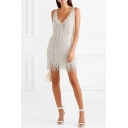 Ladies Dancing Fashion Plain Silver Tassel Decoration V-Neck Sleeveless Open Back Mini Dress