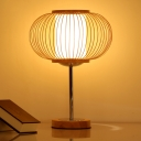 Beige Pumpkin Task Lighting Japanese 1 Bulb Bamboo Small Desk Lamp with Round Base