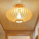 Wood Laser Cut Semi Flush Light Japanese 1 Bulb Close to Ceiling Lighting in Beige