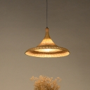 Wide Flare Pendant Light Japanese Bamboo 1 Bulb Suspended Lighting Fixture in Flaxen