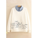 Funny Cats Printed Long Sleeves Denim Patched Lapel Collar Thick Loose Sweatshirt