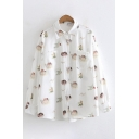 Cute Angel Letter Floral Pigeon Printed Long Sleeves Lapel Chest Pocket Button-Up Shirt