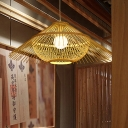1 Bulb Restaurant Hanging Lamp Asian Yellow Ceiling Pendant Light with Conical Bamboo Shade