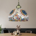 1 Light Dome Hanging Lighting Traditional Blue/Green Stained Glass Ceiling Pendant Lamp