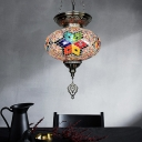 Oval Shade Restaurant Hanging Light Vintage Stained Glass 1 Light Red/Blue Ceiling Pendant Lamp