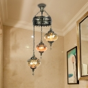 Bronze 3/5 Heads Ceiling Chandelier Traditional Amber Prismatic Glass Oval Hanging Pendant Lamp