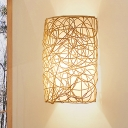 Chinese 1 Bulb Wall Lamp White Half-Cylinder Sconce Light Fixture with Rattan Shade