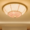 3 Bulbs Bedroom Flush Mount Asia Beige Ceiling Light Fixture with Flared Bamboo Shade