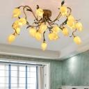 Sputnik Bedroom Semi-Flush Mount Light Traditional Metal 20 Bulbs LED Brass Close to Ceiling Lighting Fixture