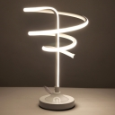 Contemporary LED Table Light White/Gold Twisted Nightstand Lamp with Acrylic Shade, White/Warm Light