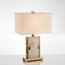 1 Bulb Dining Room Desk Light Modernism Gold Task Lighting with Rectangular Fabric Shade