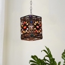 Globe/Rectangle Restaurant Pendant Lamp Decorative Stained Glass 1 Head Rust Hanging Ceiling Light