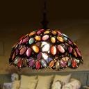 1 Light Pendant Light Decorative Scalloped Metal Ceiling Hang Fixture in Bronze/Rust for Bedroom