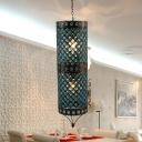 Cylinder Bedroom Ceiling Chandelier Art Deco Metal 2 Lights Blue Hanging Lamp Kit