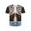 Personality Skeleton 3D Printed Short Sleeve Round Neck Black and Blue Stylish T-Shirt