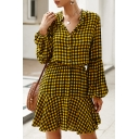 New Stylish Contrast Plaid Printed Lantern Sleeves Button Front Gathered Waist Mini Ruffle Dress