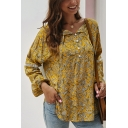 Pretty Ladies' Long Sleeve V-Neck Button Front All Over Floral Print Loose Fit Shirt