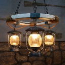Lantern Kitchen Chandelier Light Industrial Style Clear Glass 3 Lights Blue Ceiling Lamp