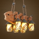 Retro House Island Ceiling Light 6 Lights Clear Glass/White Fabric Billiard Lamp in Brown with Fish-Shaped Frame