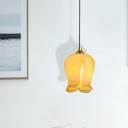 Flower White/Yellow Glass Pendant Minimalist 1 Bulb Living Room LED Suspension Lighting Fixture