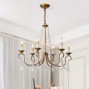 Countryside Candelabra Chandelier Light 6/9 Lights Metal Pendant Lamp in Brass with Crystal Accent