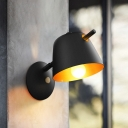 1 Bulb Balcony Sconce Macaron White/Blue/Black Wall Mounted Light Fixture with Wide Flare Metal Shade