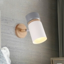 Cylinder Wall Lamp Modernism Metal 1 Head Sconce Light Fixture in White/Grey with Round Wood Backplate