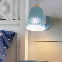 Flared Sconce Light Modernism Metal 1 Head Blue Wall Mounted Lighting with Wood Arm