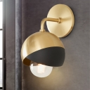 Round Sconce Light Modernist Metal 1 Bulb Gold Wall Mounted Lighting with Curvy Arm
