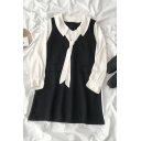 Preppy Girls' Long Sleeve Lapel Neck Tie Contrasted Patched Oversize Short Swing Dress