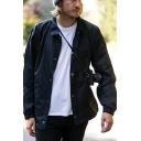 New Stylish Plain Long Sleeve Lapel Single Breasted Loose Coach Jacket for Men