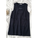 Girls Navy Two Piece Fashion Sleeveless Corduroy Short A-Line Tank Dress with Tee