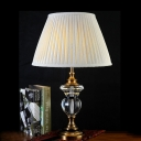Barrel Bedroom Table Light Retro Beveled Crystal Prism Single Light Blue/Light Purple/Beige Nightstand Lamp