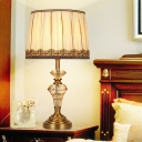 Fabric Beige Night Light Drum 1 Light Traditional Table Lamp with Clear K9 Crystal Accent