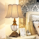 Beige 1 Light Table Lamp Traditionalist Faceted Crystal Paneled Bell Nightstand Light with Fabric Shade