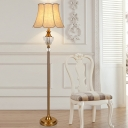 Fabric Paneled Bell Floor Light Classic 1 Head Living Room Stand Up Lamp in Beige with Faceted Crystal Accent