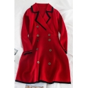 Vintage Ladies' Long Sleeve Lapel Neck Contrast Piped Double Breasted Short A-Line Jacket Dress