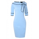 Formal Pretty Three-Quarter Sleeve Bow Tie Collar Zip Back Contrast Piped Slit Back Plain Midi Bodycon Dress for Women
