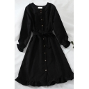Retro Girls' Plain Long Sleeve Crew Neck Button Down Bow Tie Waist Ruffled Trim Midi A-Line Dress