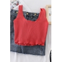 Vintage Plain Round Neck Sleeveless Stringy Selvedge Hem Ribbed Cropped Tank Top for Women