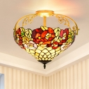Flower Ceiling Mounted Light 3 Lights Stained Glass Mediterranean Ceiling Lamp in Yellow