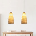 Chinese Hand-Woven Hanging Lamp Bamboo 1 Head Pendant Lighting Fixture in Wood for Dining Room