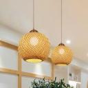 Global Pendant Lamp Japanese Bamboo 1 Bulb Beige Hanging Light Fixture for Tearoom