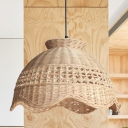 1 Head Restaurant Ceiling Light Asia Beige Pendant Lighting Fixture with Scalloped Bamboo Shade