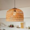 Bamboo Hand-Worked Ceiling Light Japanese 1 Head Pendant Lighting Fixture in Beige